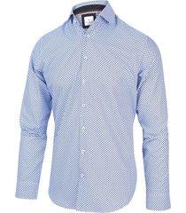 blue industry heren overhemd blauw stippen oxford perfect fit
