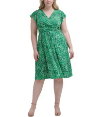 jessica howard plus size printed ruched-waist dress