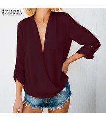 zanzea casual para mujer de manga larga con cuello en v tapas flojas camisas blusa de las señoras suéter -rojo