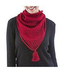 100% alpaca neck warmer, 'scarlet warmth' (peru)
