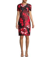 floral short-sleeve sheath dress