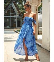 blue tie-dye fuera del hombro smocking vestido
