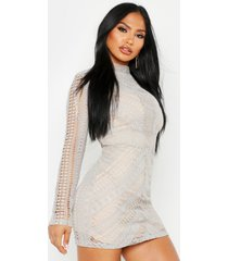 boutique crochet panelled bodycon dress, grey