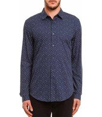 camisa forum slim estampada azul-marinho