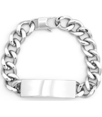 eve's jewelry men's silver tone stainless steel curb link id bracelet