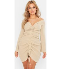 plus ruched bardot knitted dress, stone