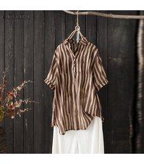 zanzea las mujeres de manga corta a rayas tapas de la camisa del verano da vuelta dow collar de la blusa de la raya -café