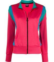 colmar contrast-panel zip-through sweatshirt - pink