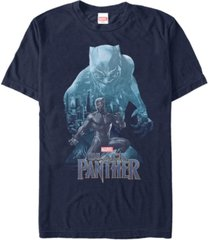 marvel men's black panther blue panther silhouette pose short sleeve t-shirt