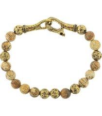 john varvatos distressed bead bracelet - red