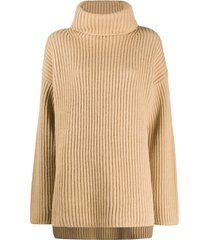 joseph high-neck chunky knit tunic - brown
