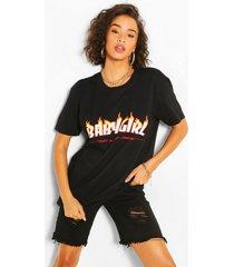 babygirl flame print t-shirt, black