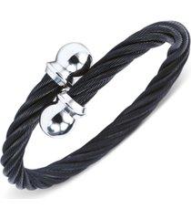 charriol unisex celtic black and silver-tone cable bangle bracelet
