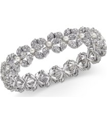 inc silver-tone imitation pearl & crystal flower stretch bracelet, created for macy's