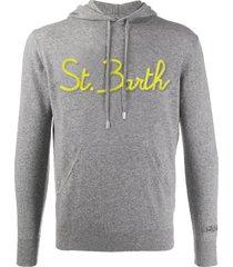 mc2 saint barth grey wool sweatshirt with hood