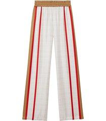 burberry archive scarf print silk wide-leg trousers - neutrals
