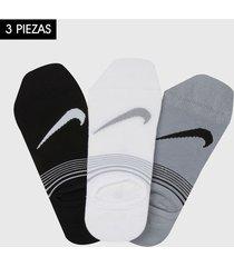 medias x3 negro-blanco-gris nike everyday plus lightweight