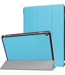 para huawei mediapad m3 lite 10 custer textura de funda de cuero flip horizontal con 3-folding titular y dormir / despertar (azul)