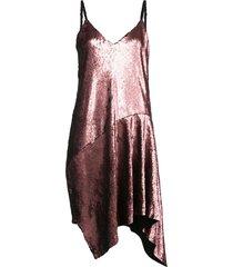 sequin slip dress with draped hem
