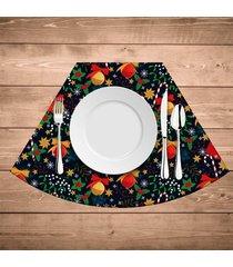 jogo americano para mesa redonda wevans elementos natalinos coloridos kit com 6 pçs