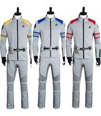 star trek beyond cosplay costume spock kirk yorktown suit yellow blue red 3color