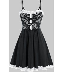 plus size lace frilled sexy slip babydoll with g-string set