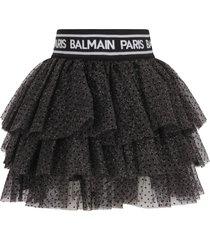 balmain black skirt with polka-dots for girl
