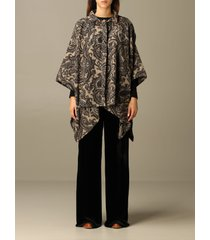 etro cape etro poncho in woolen cloth and paisley silk