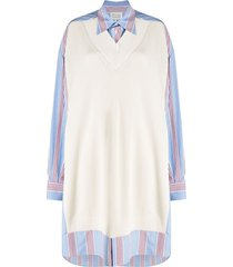 maison margiela striped jumper dress - blue