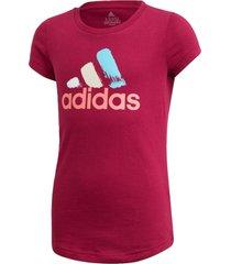 camiseta adidas estampada borgonha - vermelho - menina - dafiti