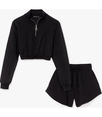 womens together forever zip sweatshirt and shorts set - black