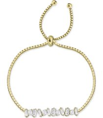 argento vivo cubic zirconia baguette cluster bolo bracelet in gold-plated sterling silver