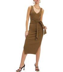 women's good american rib knit tie waist midi dress, size 3 - brown