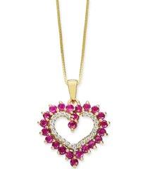 "certified ruby (1-1/6 ct. t.w.) & diamond (1/10 ct. t.w.) heart 18"" pendant necklace in 10k gold"