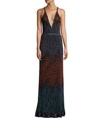 glitter ombré lurex knit maxi dress