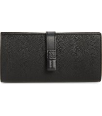 women's loewe large leather wallet - black