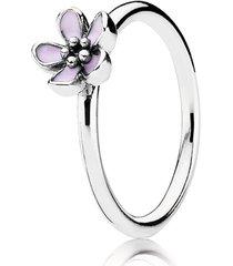 anel de prata esmalte flor de cerejeira
