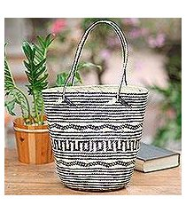 rattan tote, 'intricate black and cream' (indonesia)