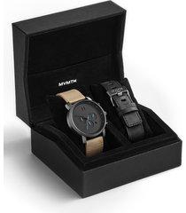 men's mvmt the chrono chronograph leather strap watch set, 45mm