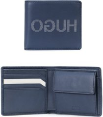 hugo men's record leather logo wallet with coin pouch