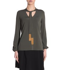 michael michael kors blouse with chain detail