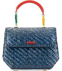 fendi pre-owned woven twisted details handbag - blue