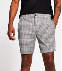 river island mens brown check sid skinny shorts