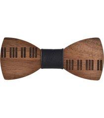 cravatta vintage da uomo in legno di wenge con stampa papillon casual
