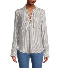 the kooples women's striped lace-up shirt - ecru - size 1 (s)