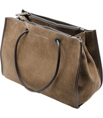 brunello cucinelli suede handbag with double compartments with zip closure