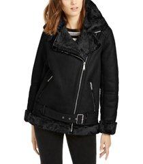 bcbgeneration asymmetrical faux-shearling moto coat