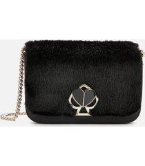 kate spade new york women's nicola faux fur twistlock chain wallet - black