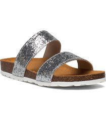 twin strap slip in shoes summer shoes flat sandals silver bianco