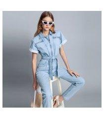 lez a lez - macacão jeans longo jeans